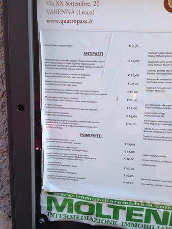 Osteria Quatro Pass : Riso al persico 15 euro....in realtà costa 18 euro
