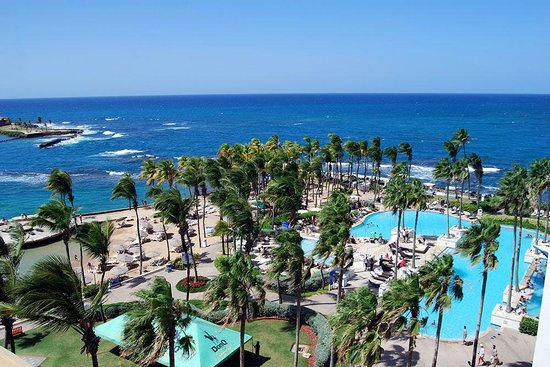 Caribe Hilton San Juan: View of the pool area from the room
