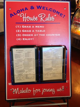 Kalaheo Cafe & Coffee Company: the house rules