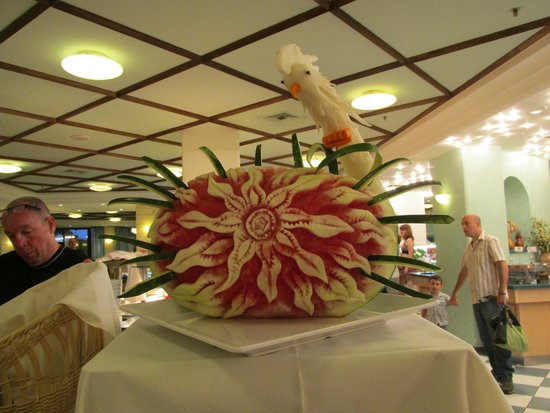 Nana Beach Hotel: one of the many fruit carvings in the main resturant