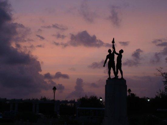 Statue near Miramar beach at sunset time