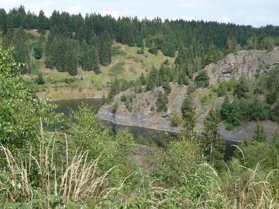 Raven Crag (Rabenklippe): Blick auf die Rappbodetalsperre
