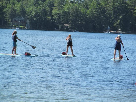 Full Moon Paddleboard: The three of us tooling about the lake!