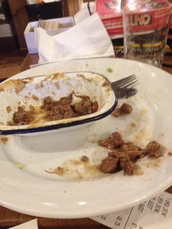 Sticklebarn: Left meat from the pie.