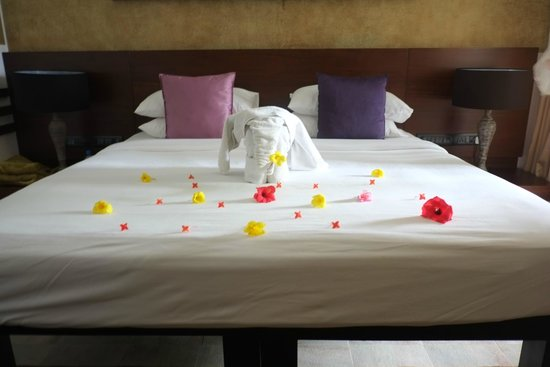AVANI Kalutara Resort : Bed and flower decorations