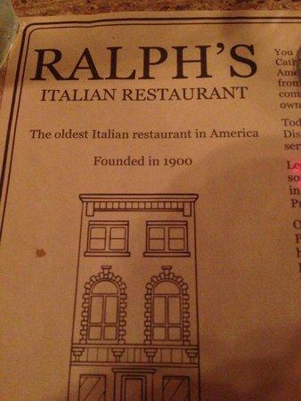 Ralph's Italian Restaurant : The oldest Italian restaurant in Philadelphia