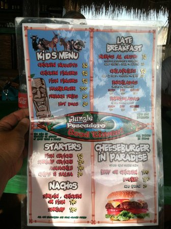 Jungle Pescadero: Kids Menu