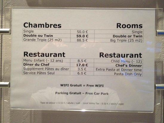 Au Primerose Hotel: Prix de l'hôtel/ restaurant