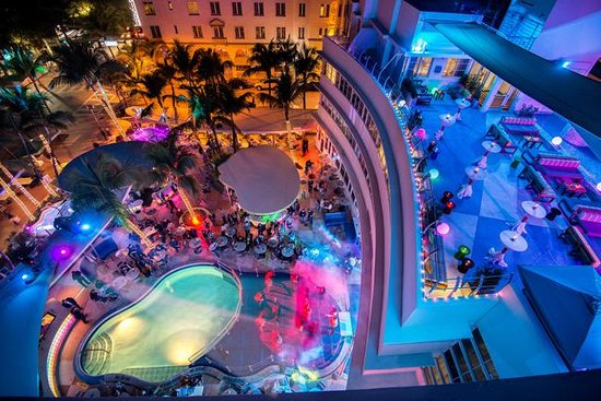 Clevelander South Beach Hotel Pool Patio At Night