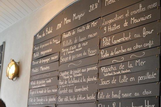 Port-en-Bessin-Huppain, France: le tableau des menus