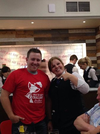 Harry Ramsden's: Gislaine and I celebrating my victory on the challenge!