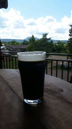 Spearfish, SD: Enjoying a cold one at Crow Peak Brewery while looking at Crow Peak!