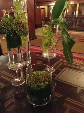 Omni Parker House : Submerged orchids and green hydrangias in the lobby
