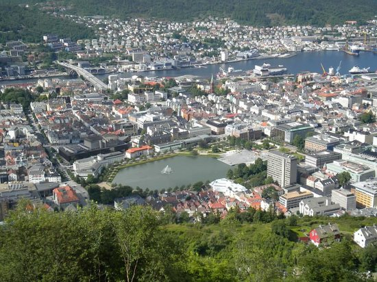Mount Floyen and the Funicular (Floibanen): View from the look out point