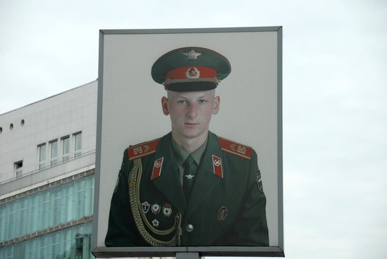 Russian soldier at Checkpoint Charlie