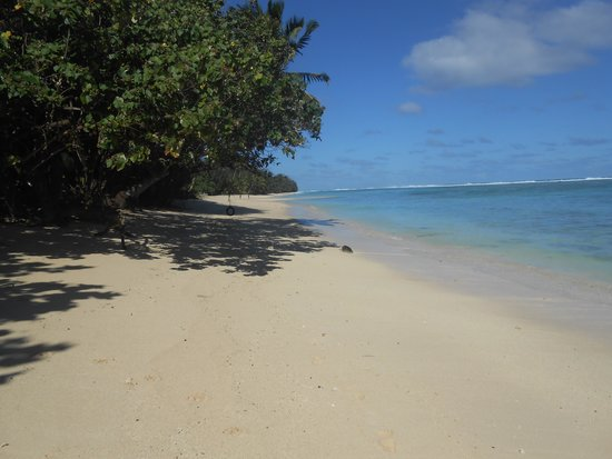 Rarotonga Backpackers: beach in front of garden bungalow