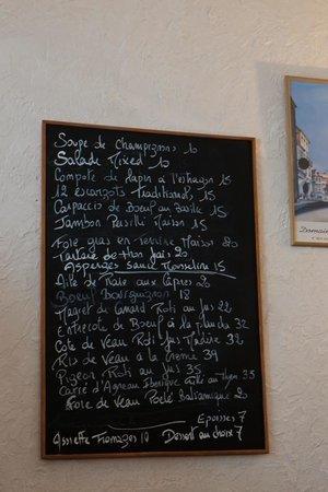 Ma Cuisine blackboard menu