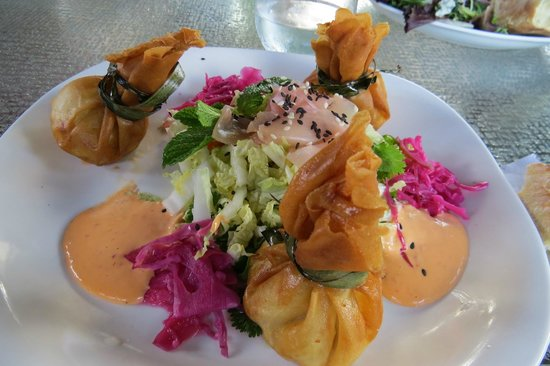 Chez Dupont and The Stone Soup Cafe: Crab Croquettes includes salad with ginger