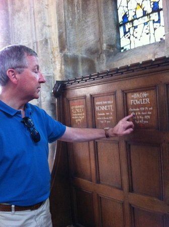 Cotswold Tours by Fowler Tours: Ken Fowler shows where his father's name is listed.