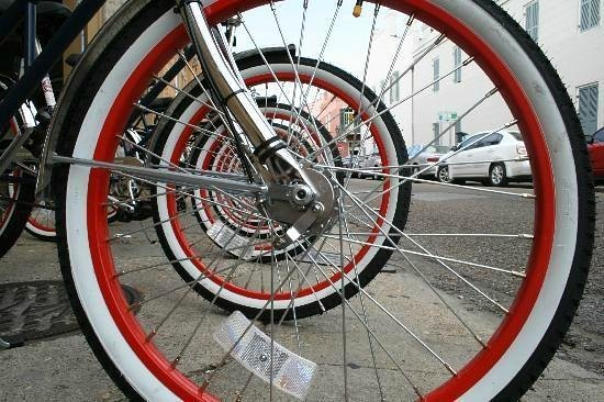 FreeWheelin' Bike Tours: Our Signature Red Rims Wrapped in White Walls!