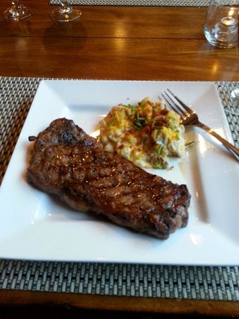 The Esmeralda Restaurant: New York Strip with Twice Baked Potatos