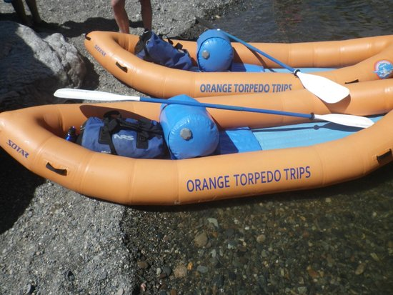 Orange Torpedo Rafting Trips: Our kayaks with our gear for two nights. Ready to go.