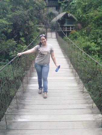 Pailon del Diablo (Devil's Cauldron) : en el puente colgante