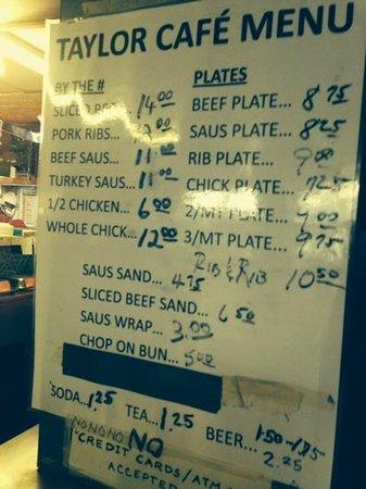 Taylor Cafe: Simple menu