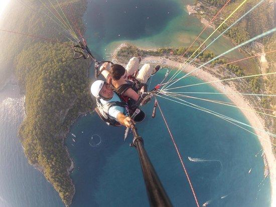 Tandem paragliding above Oludeniz beach