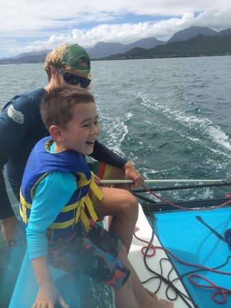 Holokai Kayak and Snorkel Adventure : Garret showing my son how to sail
