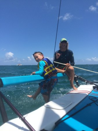 Holokai Kayak and Snorkel Adventure: My son was hanging on the side of the catamaran by the end