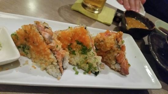 Looks rough, but tastes amazing - the sushi sandwich at Isao. Really good!