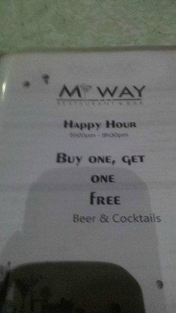 My Way Cafe & Restaurant : Happy hour