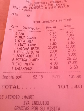 las Acacias: Lunch time bill for 6 people, check out the price of the large Squid.