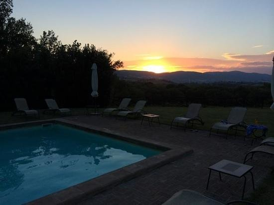 Torre Palombara - Dimora Storica: view from the pool at sunset.
