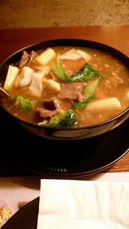 Thai Orchid : Beef and noodles in a soup.