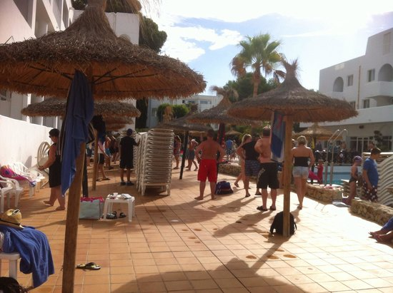 Prinsotel Alba Hotel Apartments: Everyone waiting for 10am sunbed unchaining and 10.30 swimming pool opening , like being at scho