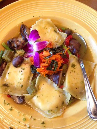 Tupelo Honey Cafe : Goat cheese filled ravioli. These had an incredible flavor but wld prefer served in a sauce, not