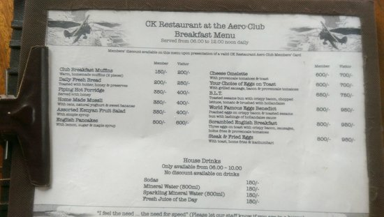 Aero Club of East Africa Restaurant: Creative menu that fits the whole aviation theme, prices are Ok too.