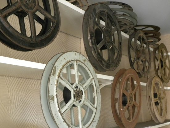 Tenbury Wells, UK: Old film reels in the Regal's museum