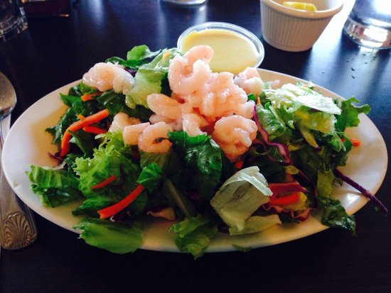 Dooger's Seafood & Grill: This is the side salad! Covered in little baby shrimp! So delicious! Get the honey mustard dress