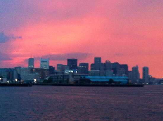 Odyssey Cruises: View of sunset over Boston Harbor from the Odyssey Cruise deck