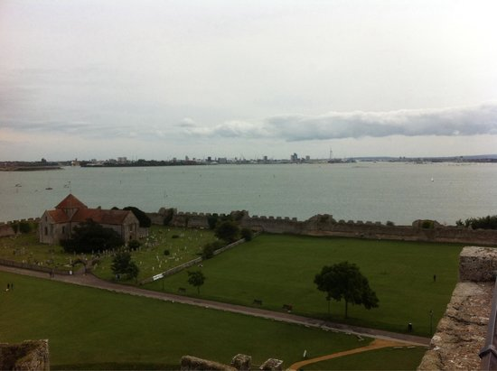 Portchester Castle: View across to Portsmouth Harbour