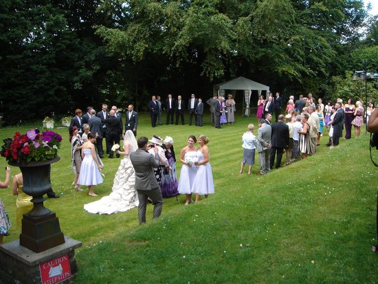 St. David's Guest House: wedding on lawn