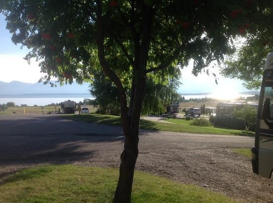 Polson / Flathead Lake KOA: early morning view across the Flathead  lake from our campsite