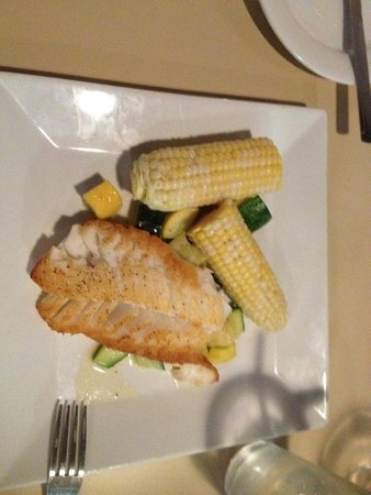 Close Harbour Seafood: Pan Seared Cod with corn on the cob and zucchini and squash sides