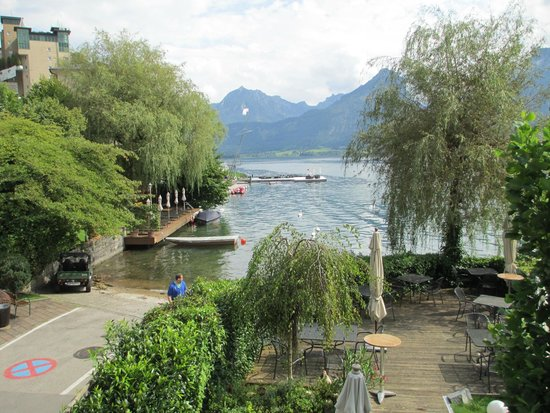 Seevilla Wolfgangsee: So-so lake view from Room 150 balcony, accompanied by plenty of noise and cigarette smoke
