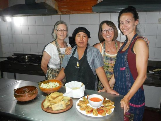 El Frijol Feliz Cooking School : Our finished work before dining with wine!