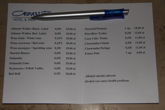 Crown Piast Hotel & Park: MINIBAR PRICES