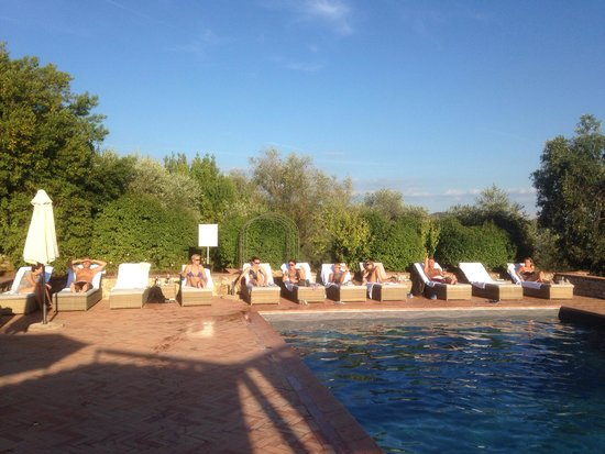 Locanda Le Piazze: Relaxing by the pool after a spectacular bike-round trip in the nearby wine area and surrounding